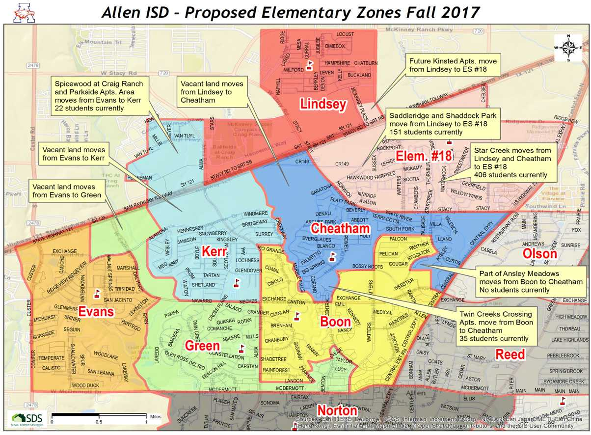 Proposed Elementary school zones for the 2017-2018 school year. Photo courtesy: Allen ISD