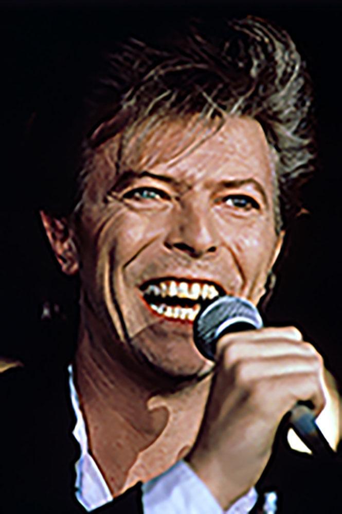 David Bowie performing.