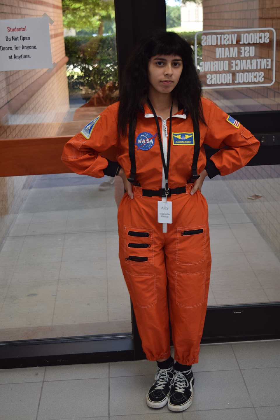 Senior Gabriella Kissell bears a spacesuit on Superhero Thursday.