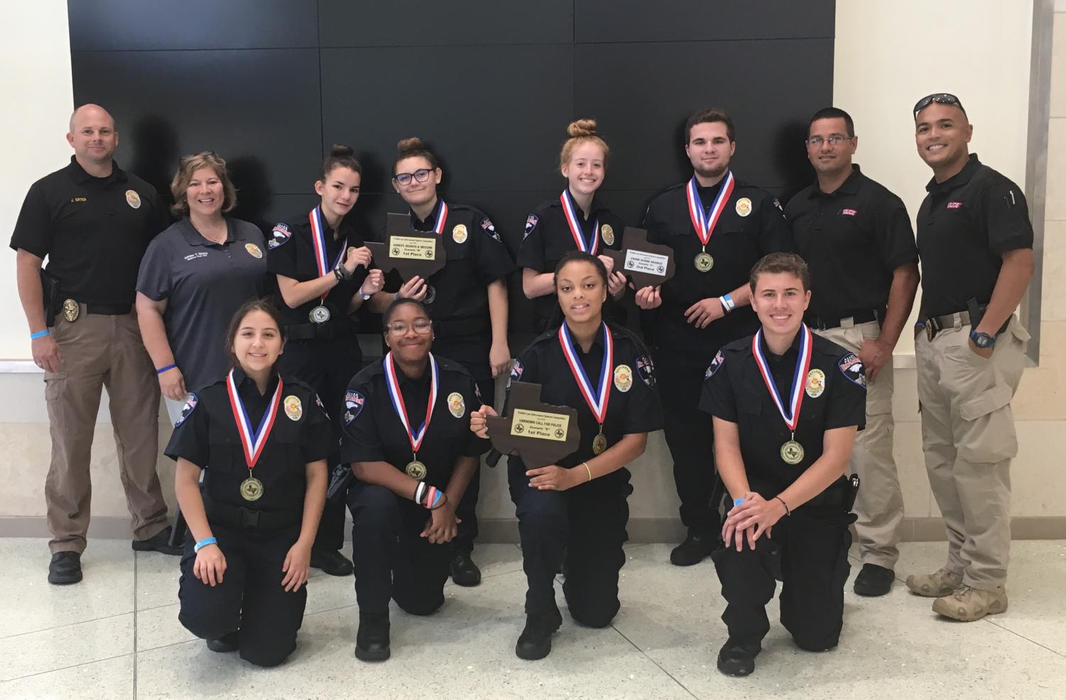 Front row Alexa Murillo, Jalen Doughty, Daylah Washington and Vincent Saia  Back Row: Sgt Jason Erter, Mrs Nickles, Kathryn Wilson, Cameran La Tour, Ashleigh Browne, Chase Miller, Officer Anthony Garcia and Officer Christian Centeno
