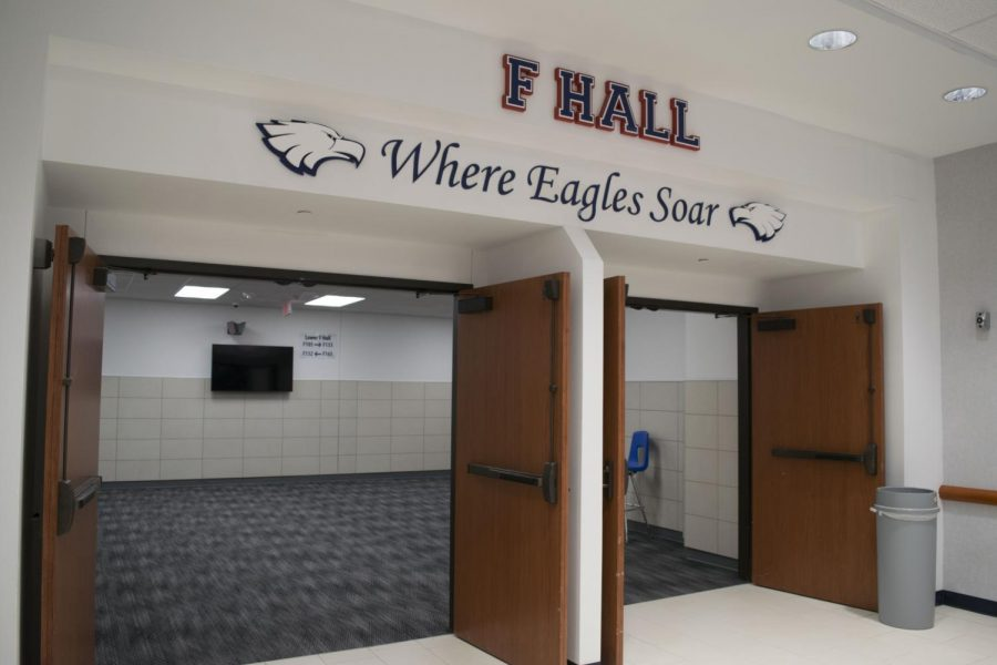 "The entrance of F Hall was renovated, and it stands out from the rest. ""I think the F Hall entrance will set the standard for the other halls once they get built,"" junior Marian Renteria-Avitia said. Every hall was in unison before the renovation, but now F Hall stands out."