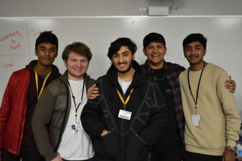 Pictured Left to Right: Treasurer Pranay Srivastava, Secretary James Wood, Vice President Vardaan Bhat, President Amrik Mohanty, and Ashvvath Vijay, Marketing Director.
